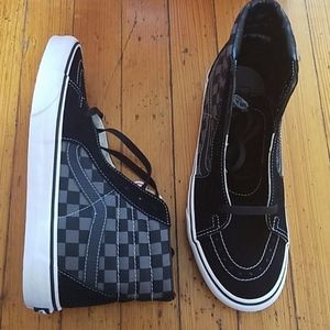 mens 10 vans sk8 hi black/pewter checkerboard